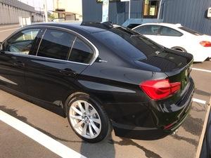 BMW3シリーズにカーフィルム施工、ポリマーコーティングです。倉敷市からのお客様です。
